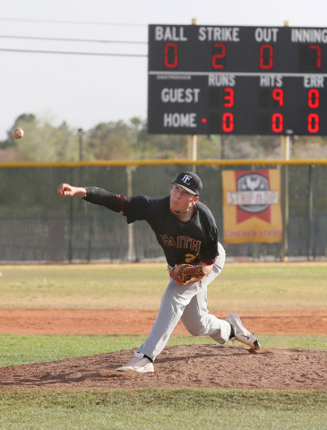 Faith Lutheran senior Brandon Johnson throws a pitch during the seventh inning on Wednesday. Johnson tossed a no-hitter with 11 strikeouts as the Crusaders beat host Bonanza, 3-0. (Ronda Churchill ...