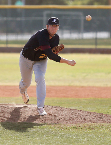 Faith Lutheran senior Brandon Johnson delivers a pitch during his no-hitter at Bonanza on Wednesday. Johnson, a Kansas signee, struck out 11 and walked one as Faith Lutheran won, 3-0. (Ronda Churc ...