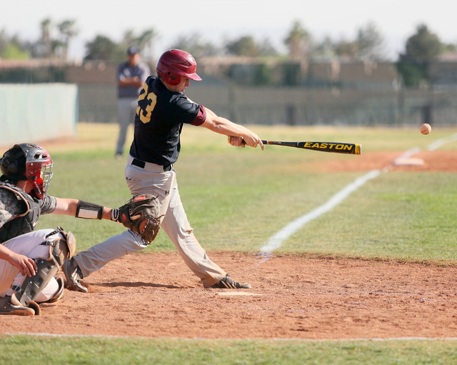Faith Lutheran's Blake Giuliani connects for one of his team's 10 hits on Wednesday. Giuliani finished 2-for-3 with two singles and a run scored as the Crusaders beat host Bonanza, 3-0. (Ronda Chu ...