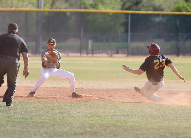 Bonanza's Cruz Nevarez, left, waits for the ball to arrive as Faith Lutheran's Blake Giuliani tries to steal second during the sixth inning of the Crusaders' 3-0 victory on Wednesday. Giuliani was ...