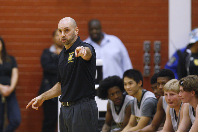 Clark head coach Chad Beeten directs his players against Mojave on Tuesday. Clark won 52-47 in double overtime. (Sam Morris/Las Vegas Review-Journal)