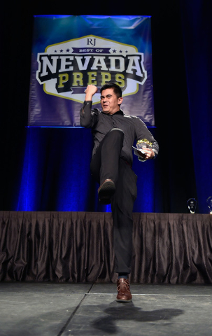 Ron Chan of Desert Oasis High School celebrates his Spirit Award during the Best of Nevada Preps awards banquet at the Red Rock hotel-casino Saturday, June 4, 2016, in Las Vegas. (David Becker/Las ...