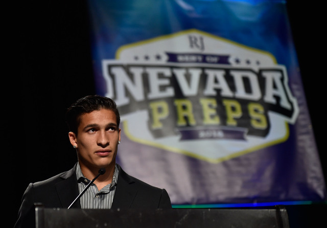 Biaggio Ali Walsh speaks after receiving his top male athlete award at the Best of Nevada Preps awards banquet at the Red Rock hotel-casino Saturday, June 4, 2016, in Las Vegas. David Becker/Las V ...