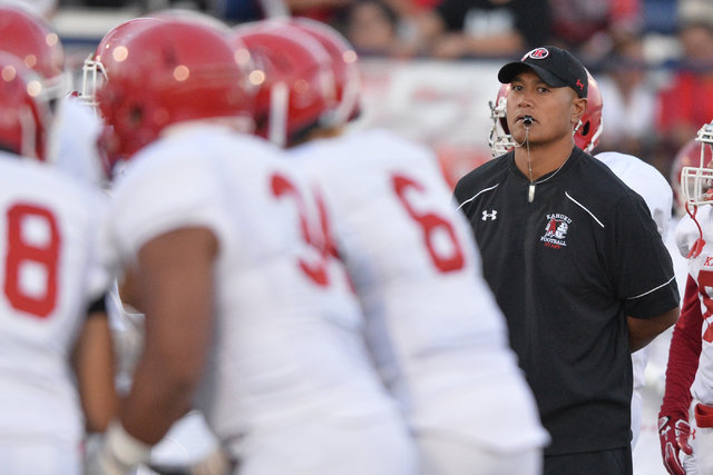 Kahuku head coach Vavae Tata watches his team warm up before the Bishop Gorman High School Kahuku High School game at Bishop Gorman in Summerlin on Saturday, Sept. 17, 2016. Brett Le Blanc/Las Veg ...