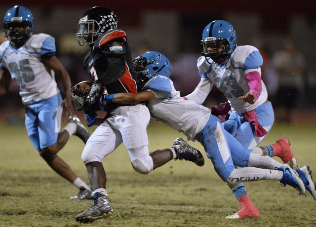 Las Vegas running back DiQuan Brown (3) runs the football during the Las Vegas High School Canyon Springs High School game at Las Vegas High School on Friday, Oct. 7, 2016. Brett Le Blanc/Las Vega ...