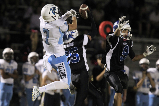 Basic safety Jake Waldren intercepts a pass intended for Foothill wide receiver Aedan Bartolowits during the first half on Friday.  (Sam Morris/Las Vegas Review-Journal)