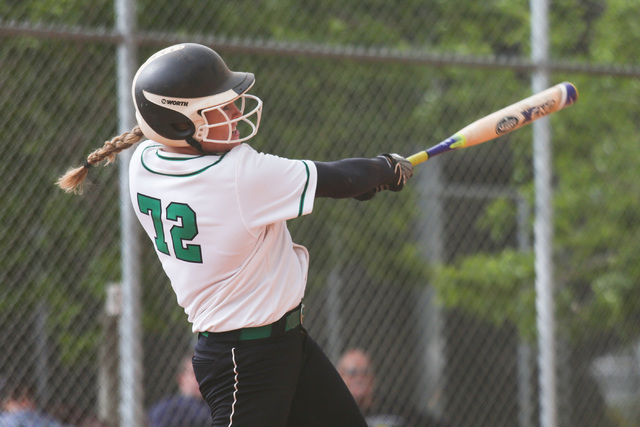 Samantha Pochop (72) takes a swing during a game between the Rancho High School Rams and the Green Valley High School Gators on Monday, March 28, 2016, in Las Vegas. Brett Le Blanc/Las Vegas Revie ...