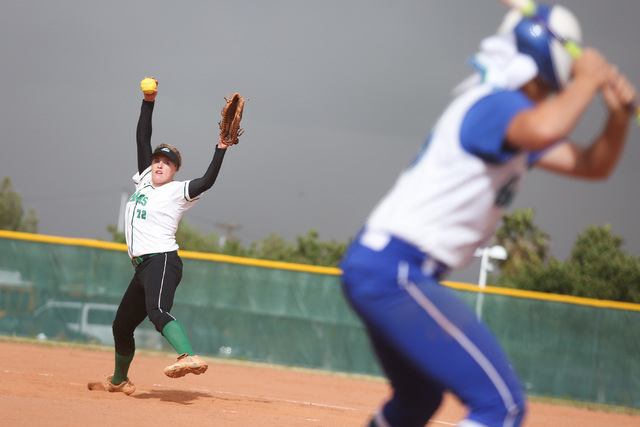 Samantha Pochop (72) throws a pitch during a game between the Rancho High School Rams and the Green Valley High School Gators on Monday, March 28, 2016, in Las Vegas. Brett Le Blanc/Las Vegas Revi ...