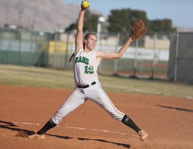 Rancho's Samantha Pochop pitches during Monday's game against Durango. Pochop tossed a four-hitter and struck out 12 as Rancho won 7-0. (Ronda Churchill/Las Vegas Review-Journal)