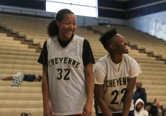 Cheyenne seniors Da'Vione Lomax and Ejanae Coopwood share a laugh during practice at Cheyenne High School on Friday, Feb. 10, 2017, in Las Vegas. Brett Le Blanc/Las Vegas Review-Journal Follow @bl ...