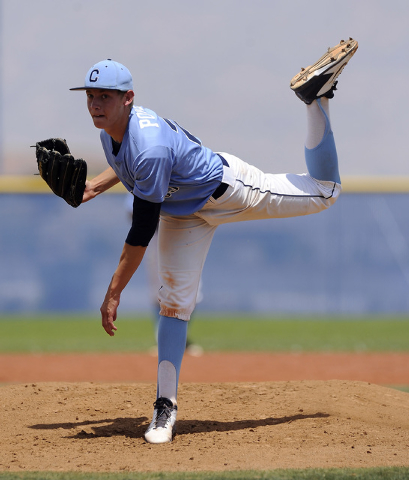 Centennial pitcher Cooper Powell delivers against the Bishop Gorman in the second inning of the Sunset Region championship game on Saturday. Powell threw a five-hitter as the Bulldogs beat the Gae ...