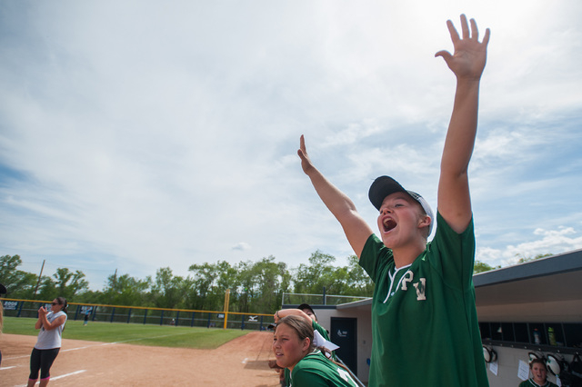 Palo Verde third baseman Lauren Oxford cheers as a teammate scores against Foothill in the Division I state softball tournament at UNR's Hixson Park on Friday. Palo Verde defeated Foothill 10-0 to ...