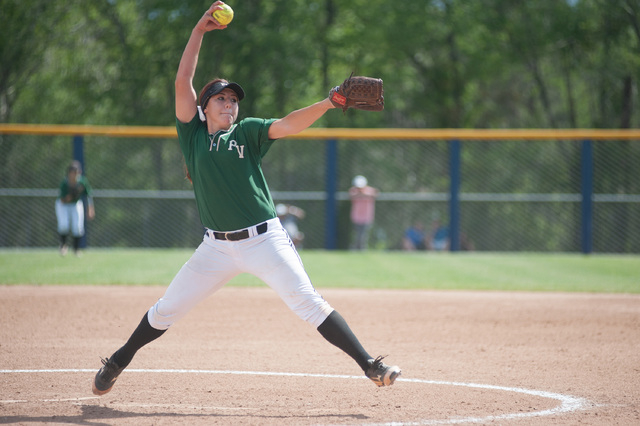 Palo Verde's Rachel Williams throws a pitch against Foothill in the Division I state softball tournament at UNR's Hixson Park on Friday. Williams allowed just one hit and one walk in four innings  ...
