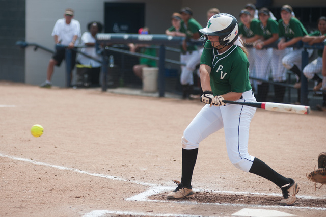 Palo Verde's Rachael Turner swings at a pitch against Foothill in the Division I state softball tournament at UNR's Hixson Park on Friday. Turner was 1-for-4 with an RBI as Palo Verde defeated Foo ...