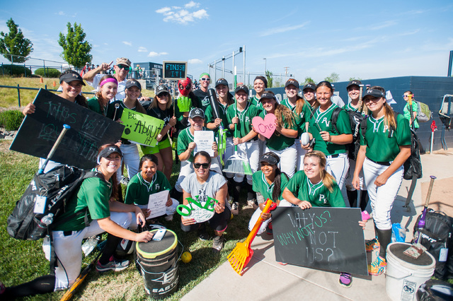 Palo Verde poses after defeating Foothill, 10-0 in the Division I state softball tournament at UNR's Hixson Park on Friday. The Panthers will meet in Reed in the title game on Saturday. (Kevin Cli ...