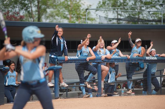 Foothill's dugout cheers on Sarah Maddox as she bats against Palo Verde in the Division I state softball tournament at UNR's Hixson Park on Friday. Palo Verde defeated Foothill 10-0 to advance to  ...