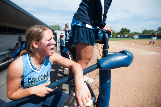 Foothill catcher Hannah Stevens cheers from the dugout while playing against Palo Verde in the Division I state softball tournament at UNR's Hixson Park on Friday. Palo Verde defeated Foothill 10- ...