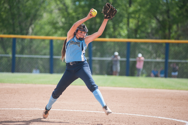 Foothill's Sarah Penksa pitches against Palo Verde in the Division I state softball tournament at UNR's Hixson Park on Friday. Palo Verde defeated Foothill 10-0 to advance to the finals. (Kevin Cl ...