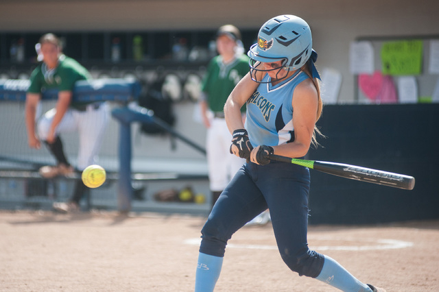 Foothill's Hannah Stevens bats while playing against Palo Verde in the Division I state softball tournament at UNR's Hixson Park on Friday. Palo Verde defeated Foothill 10-0 to advance to the fina ...