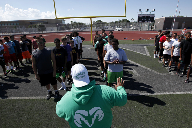 Rancho head coach Tyrone Armstrong leads his team through practice on Thursday. The team will play an independent schedule this fall. They have not had a victory since 2011, and the team hopes tha ...