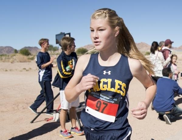 Boulder City's Siera Selinger won the Southern Region meet last year. (Daniel Clark/Las Vegas Review-Journal)