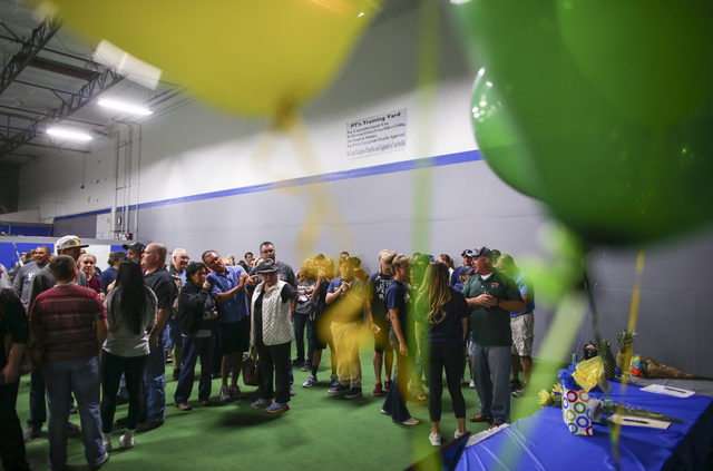 People arrive to watch as Las Vegas area high school softball players gather to sign their national letters of intent at PrimeTime batting cages in North Las Vegas on Wednesday, Nov. 9, 2016. Chas ...
