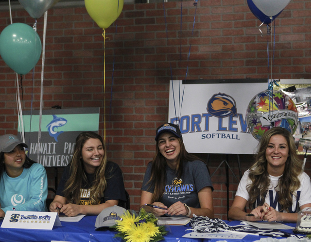 Las Vegas area high school softball players gather to sign their national letters of intent at PrimeTime batting cages in North Las Vegas on Wednesday, Nov. 9, 2016. Chase Stevens/Las Vegas Review ...