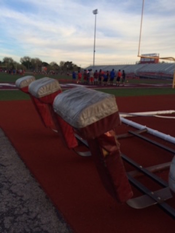 The blocking sled at Valley High is 34 years old and the pads are worn and torn and do not fit correctly.(Courtesy George Baker)