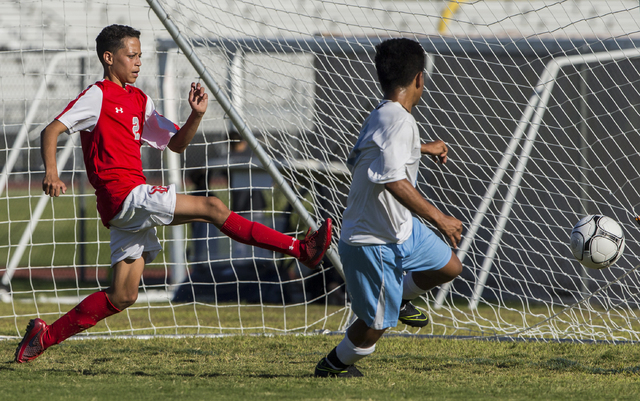 Arbor View junior defender Tyler Authemen (2) tries to block a goal on Tuesday, Sept. 6, 2016, at Canyon Springs High School in Las Vegas. The Pioneers defeated the Aggies 4-1. Benjamin Hager/Las  ...
