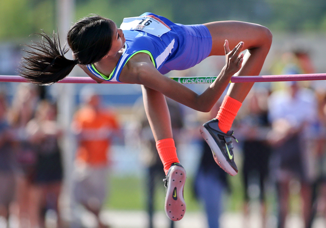 Bishop Gorman's Vashti Cunningham, shown during the 2014 Division I state track and field championships, set a national high school record in the girls high jump Saturday at the Mt. SAC Relays in  ...