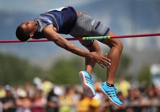 Centennial's Anyah Nutter cleared 6 feet, 6 inches to place second in the Division I boys high jump at the state track meet on Saturday. (Cathleen Allison/Special to the Review-Journal)
