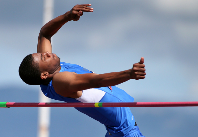Bishop Gorman's Randall Cunningham won the state title in the Division I boys high jump with a height of 6 feet, 11 at the state track meet on Saturday. (Cathleen Allison/Special to the Review-Jou ...