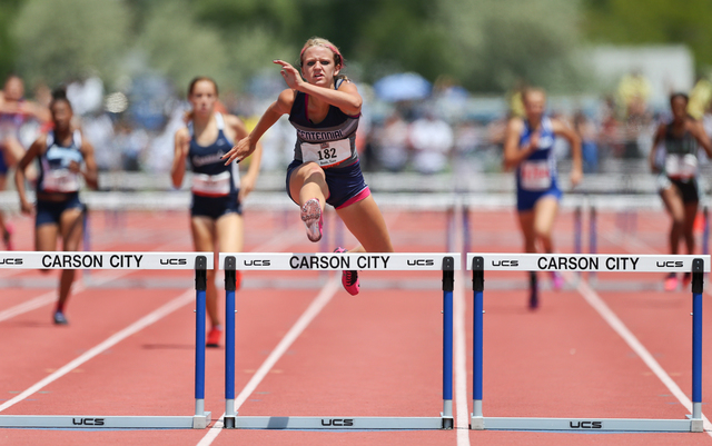 Centennial's Tiana Bonds sets a state record in the Division I girls 300-meter hurdles with a time of 41.47 seconds. (Cathleen Allison/Special to the Review-Journal)