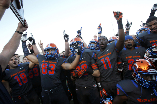 Bishop Gorman celebrate after defeating Palo Verde in the Sunset Region championship football game last November. It was the fifth straight victory after Palo Verde downed the Gaels 50-14 in 2008. ...