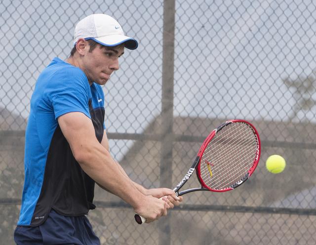 Martin Rizov from Coronado High School hits a shot during a tennis match at Liberty High School on Tuesday, Sept. 27, 2016, in Henderson. Loren Townsley/Las Vegas Review-Journal Follow @lorentownsley