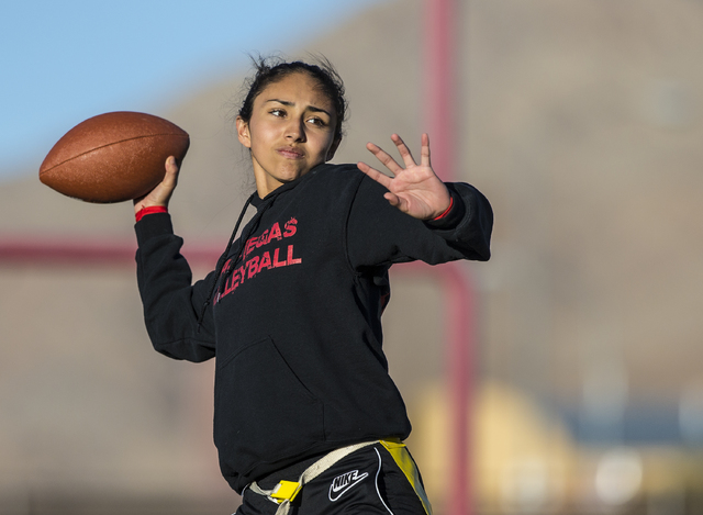 Wildcat quarterback Sabrina Saldate runs drills during flag football practice at Las Vegas High School on Monday, Nov. 28, 2016, in Las Vegas. Benjamin Hager/Las Vegas Review-Journal
