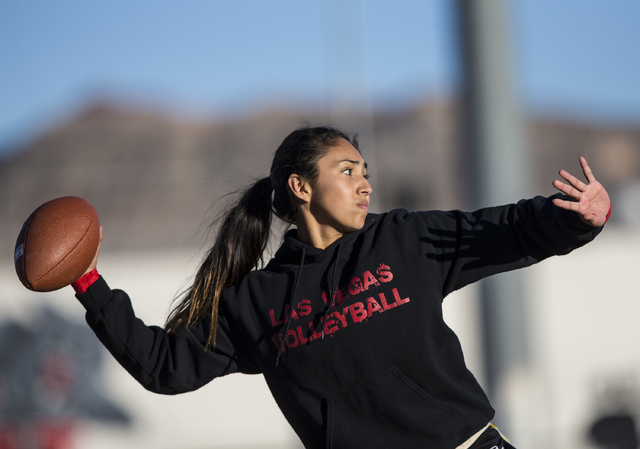 Wildcat quarterback Sabrina Saldate warms up during flag football practice at Las Vegas High School on Monday, Nov. 28, 2016, in Las Vegas. Benjamin Hager/Las Vegas Review-Journal