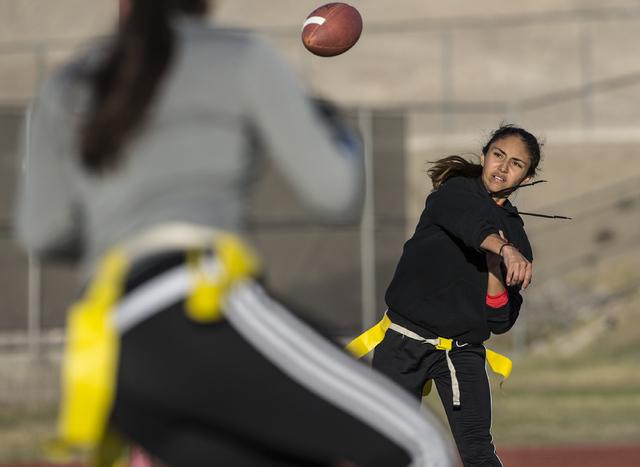 Wildcat quarterback Sabrina Saldate runs a passing drill during flag football practice at Las Vegas High School on Monday, Nov. 28, 2016, in Las Vegas. Benjamin Hager/Las Vegas Review-Journal