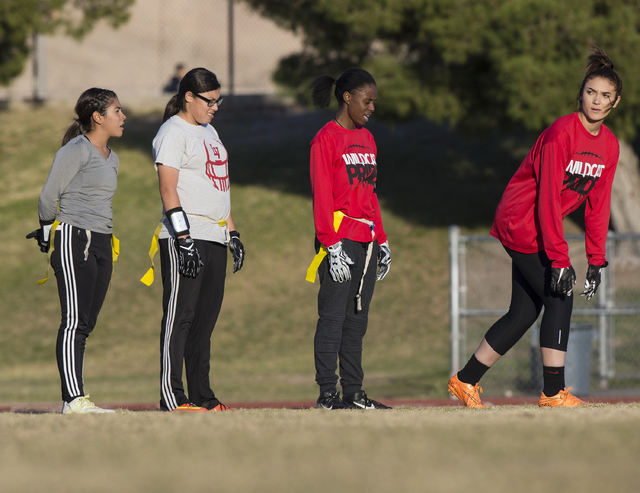 Wildcat wide receiver Natalie Gennuso, right, gets ready to run a route during flag football practice at Las Vegas High School on Monday, Nov. 28, 2016, in Las Vegas. Benjamin Hager/Las Vegas Revi ...
