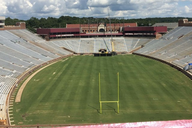 Doak Campbell Stadium is seen under construction on the campus of Florida State University on Thursday, June 29, 2016, in Tallahassee, Fla. The project, which is due to be completed on Sept. 3, is ...