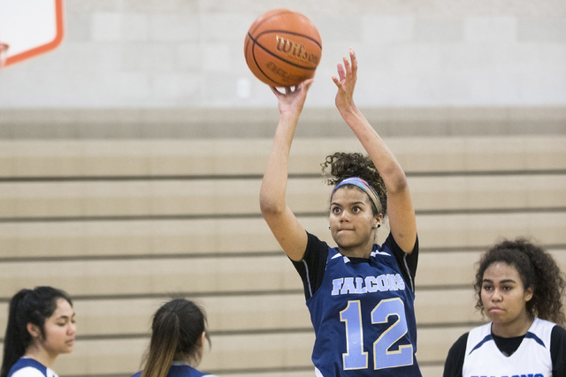Foothill junior Rae Burrell (12)  shoots a 3-point shot during practice at Mannion Middle School on Monday, Feb. 20, 2017, in Henderson. Burrell is poised to lead the Falcons into the Class 4A sta ...