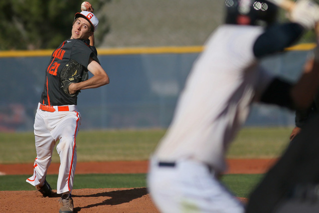 Bishop Gorman senior Chase Maddux, shown pitching against Shadow Ridge on April 6, is 3-1 with a 4.11 ERA this season. He signed Wednesday with UNLV, his lone Division I offer. (Ronda Churchill/La ...