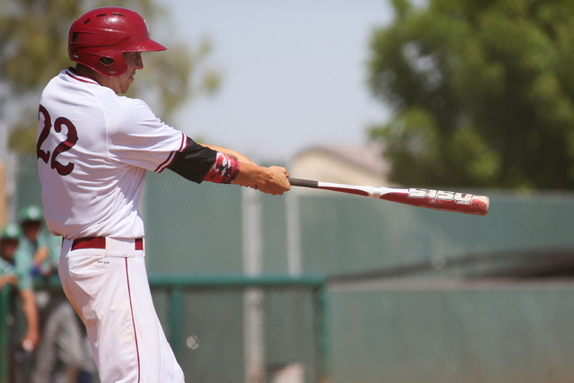 Desert Oasis senior Nolan Kingham swings to hit a home run during a baseball game against Green Valley at Desert Oasis Saturday, April 11, 2015, in Las Vegas. Desert Oasis won 10-1. (Ronda Churchi ...