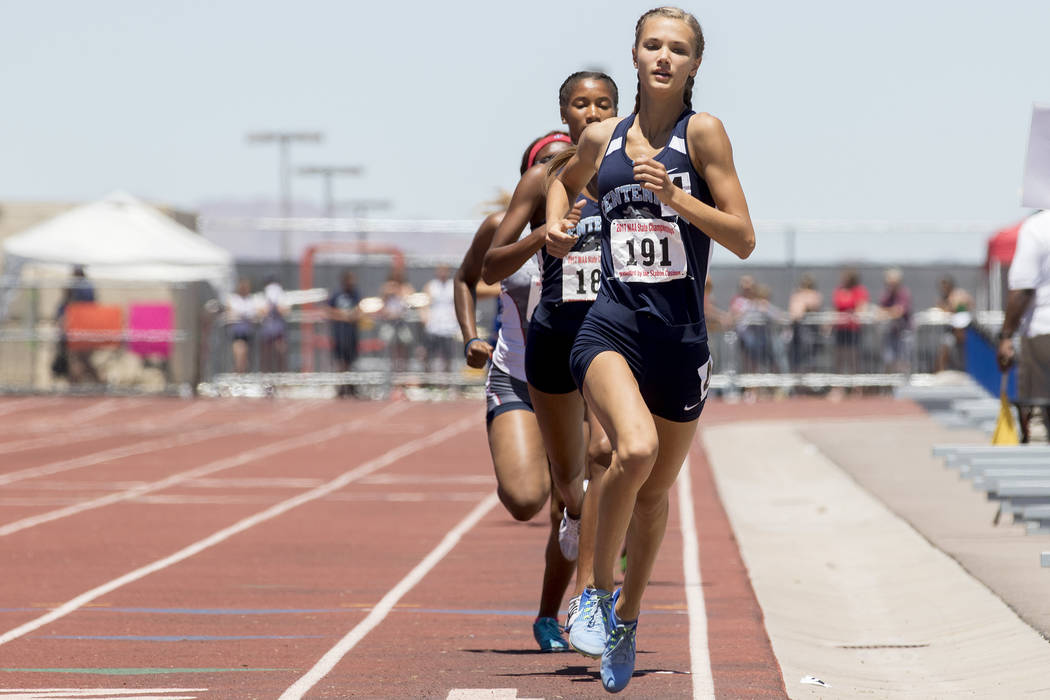 Centennial senior Karina Haymore leads the pack during the girls 800-meeter run at the NIAA State Track & Field Championships at Foothill High School on Saturday, May 20, 2017 in Henderson. Ha ...