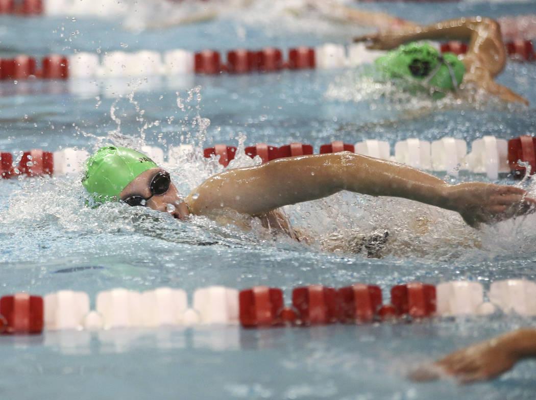 Palo Verde's Chloe Freeman competes in the 500 yard freestyle during the Sunset Region swim tournament at Buchanan Natatorium at UNLV in Las Vegas on Saturday, May 13, 2017. Chase Stevens Las Vega ...