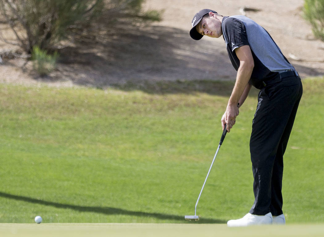 Palo Verde's Jack Trent on the 16th hole during the Sunset Region boys golf tournament at the Siena Golf Club in Las Vegas, Monday, May 8, 2017. Elizabeth Brumley Las Vegas Review-Journal @EliPage ...