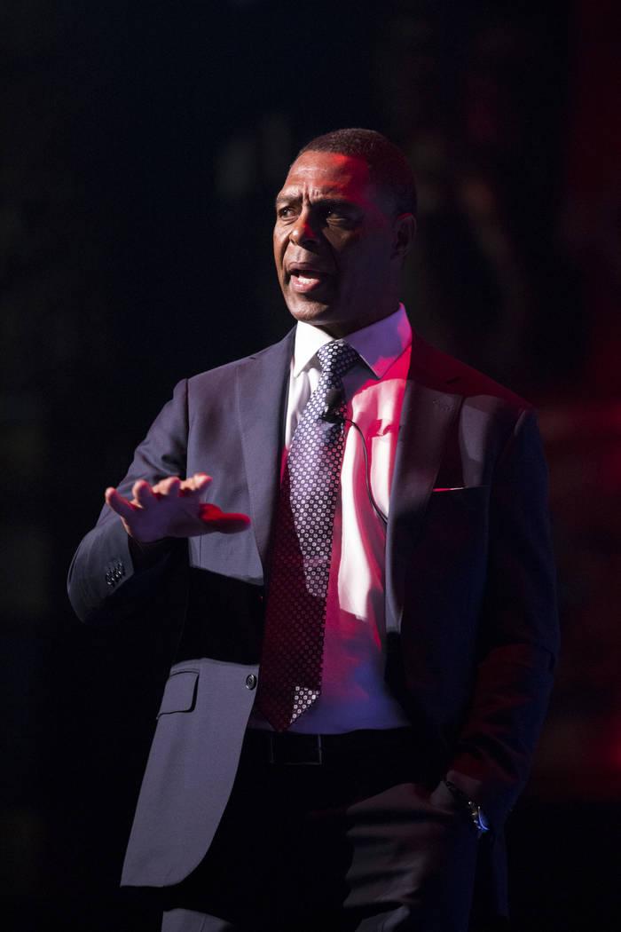 Keynote speaker football hall of famer Marcus Allen during the annual Best of Nevada Preps Awards at the Venetian hotel-casino on Saturday, June 3, 2017 in Las Vegas. Erik Verduzco/Las Vegas Revie ...