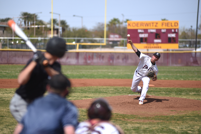 Faith Lutheran's Zach Trageton (11) pitches against Canyon View (Utah) during their baseball game played at Faith Lutheran's Koerwitz Field in Las Vegas on Saturday, March 19, 2016. Faith Lutheran ...