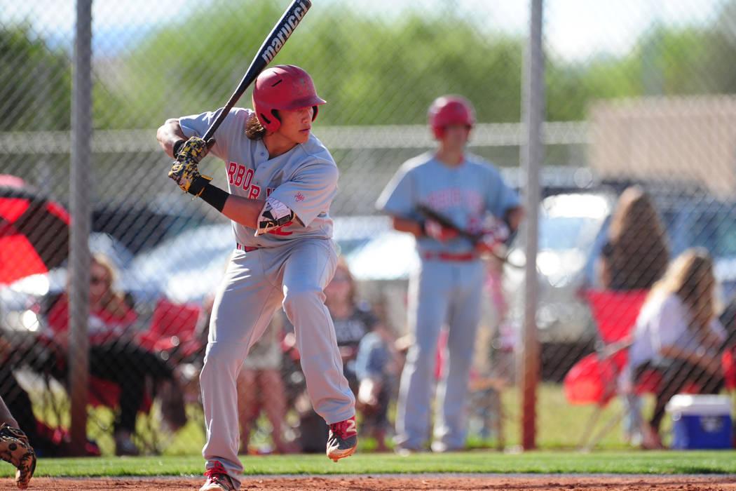 Arbor View shortstop Nick Quintana is seen during their prep baseball game against Shadow Ridge at Shadow Ridge High School in Las Vegas Monday, May 2, 2016. Shadow Ridge defeated Arbor View 15-11 ...