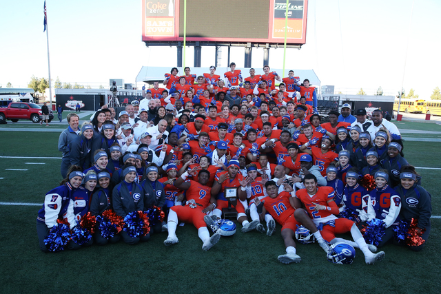 Bishop Gorman pose after their 84-8 win against Liberty in the Class 4A state football championship game at Sam Boyd Stadium on Saturday, Dec. 3, 2016, in Las Vegas. Erik Verduzco/Las Vegas Review ...